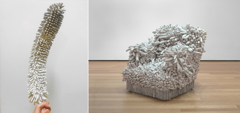 detail of duster (left), Kusama's Accumulation No. 1 (right)